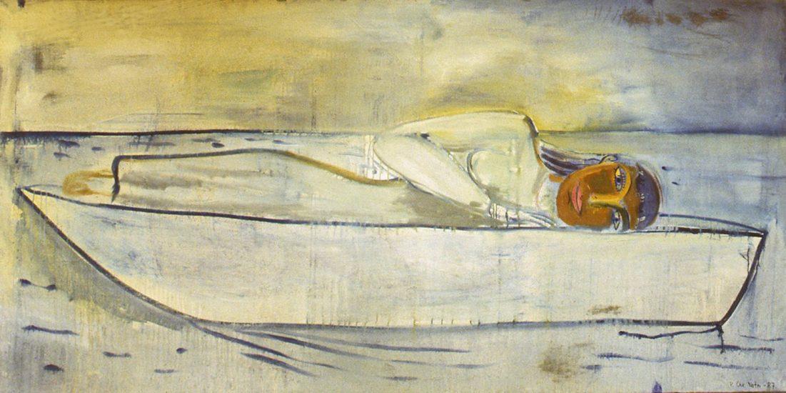 <em>Kvinne i båt</em>, Per Christian Vatn. Fotograf: Nanna Cecilie Brekke