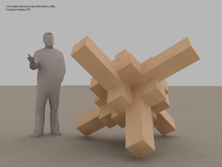 <em>3D modell av Diamond Cube With Beams</em>, Snorre Ytterstad. Fotograf: Snorre Ytterstad