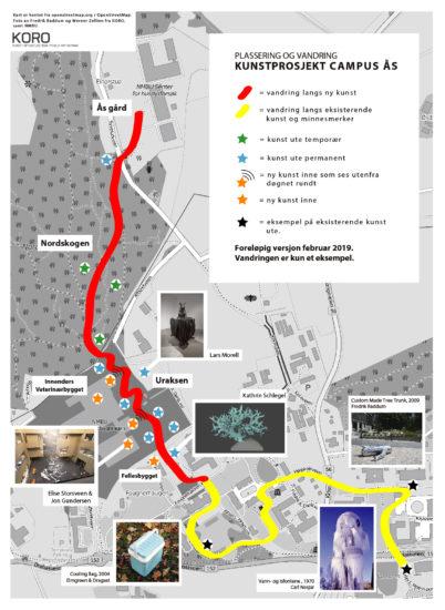 <em>Utsnitt av plassering av kunst på Campus Ås, mars 2016.</em>, OpenStreetMap. Fotograf: Fredrik Raddum og Werner Zellien / KORO og Håkon Sparre / NMBU.