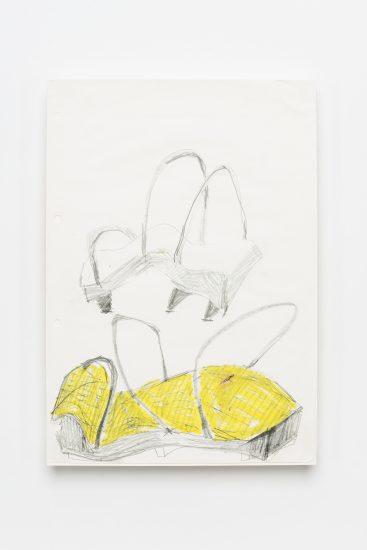 <em>Astrid Sleire</em>, blyant og gul fettstift på papir, 1987. Photographer: Vegard Kleven