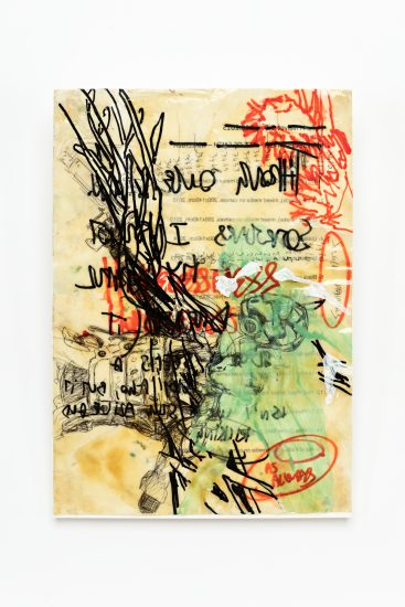<em>Manuel Portioli</em>, lakk og permanent tusj på papir, 2014. Photographer: Vegard Kleven