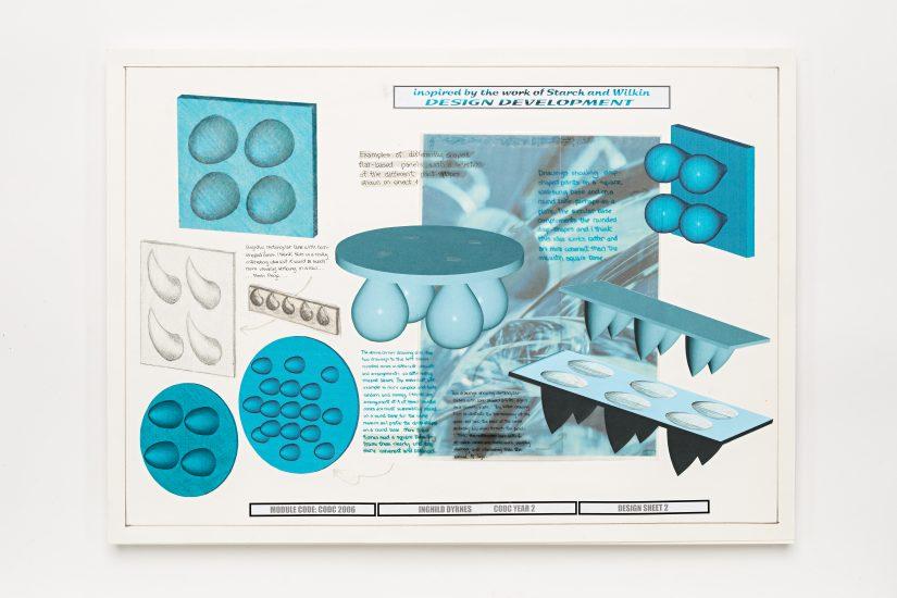 <em>Inghild Dyrnes Karlsen</em>, hånd- og CAD-genererte skisser på papir, 2002. Photographer: Vegard Kleven