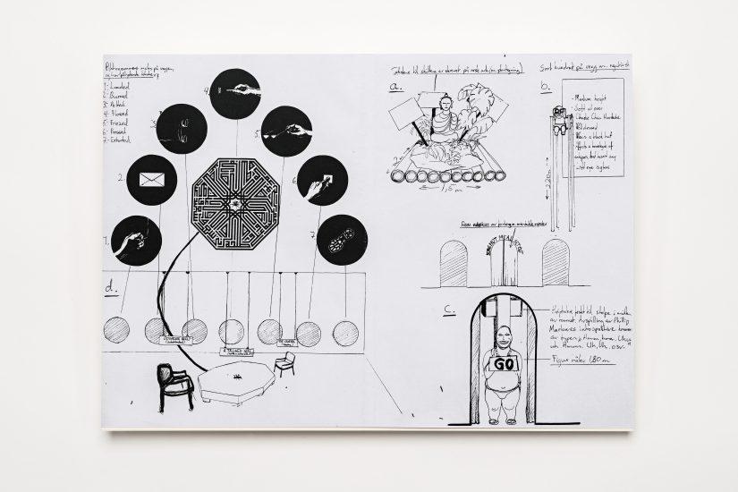 <em>Eivind Slettemeås</em>, blyant, tusj, xerografi på papir, 1998. Photographer: Vegard Kleven