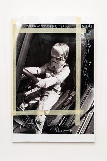 <em>Yngvar Larsen</em>, digital foto med anmerkinger, tape og rester av akvarell på papir, 2016. Photographer: Vegard Kleven