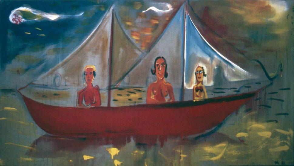 <em>Kvinner i seilbåt</em>, Per Christian Vatn. Fotograf: Nanna Cecilie Brekke