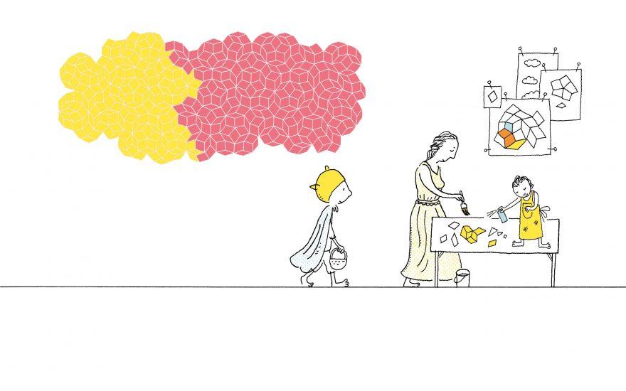 , Fra <em>Kunsten å finne perler</em> av Øyvind Torseter. I tegningen gjenkjennes kunstverket <em>Colour Clouds </em>av Miriam Sleeman (UK) og Thomas Sloan (AU). Illustrasjon: Øyvind Torseter.