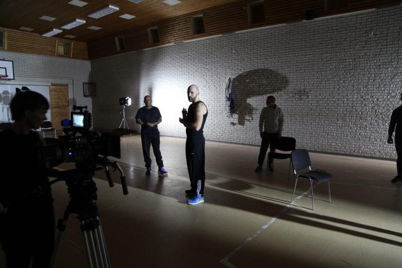 <em>Fra filminnspilling, med Marte, Haagi, Benjamin og Tommy (Ullersmo fengsel)</em>, Liv Bugge. Photographer: Liv Bugge