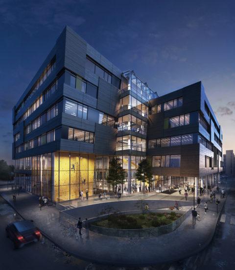 <em>Elgesetergate 10</em>, nytt bygg for NTNU Medisin- og helsevitenskapelig fakultet og idrettsbygg for Sit. Illustrasjon: LINK arkitektur.