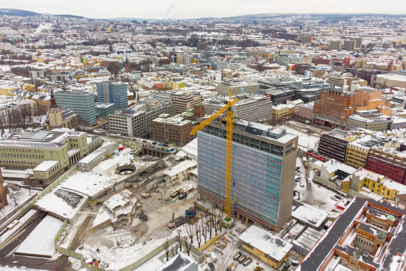 Regjeringskvartalet skal gjenreises på Hammersborg. Planlagt ferdigstillelse er 2029. Fotograf: Hans O. Torgersen